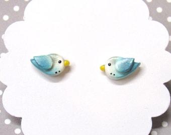 Blue Parakeet Earrings, Budgie Earrings, Bird Earrings, Cute Earrings, Hypoallergenic, Bird Lover Gift, Pet Bird Gift, Blue Stud Earrings