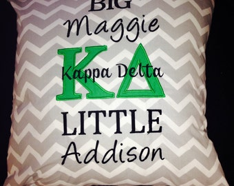 Sorority customizable Pillow! You Choose letters and colors! Kappa Delta shown