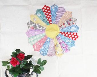 Vintage Quilt Block on Muslin, Hand Sewn Quilt Block, Vintage    -   G