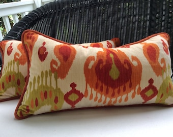 Schumacher Pillow Cover in Orange, Chartreuse, and Red Taskent Ikat Velvet,