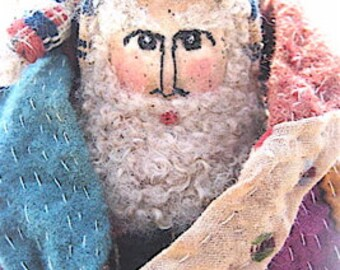 "OOAK Primitive Folk Art Santa ""Of FLOCK n' FLUTTER"" Original Design from Antique Coverlet and Quilt w/handmade Wool Lamb and Shepherd Staff"