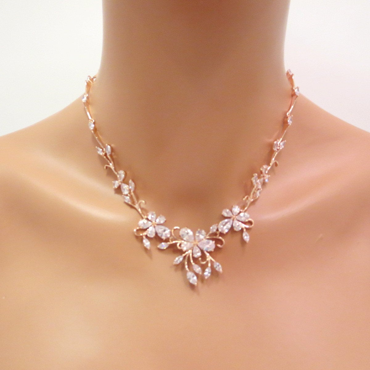 Rose gold necklace Bridal necklace Necklace Set Bridal