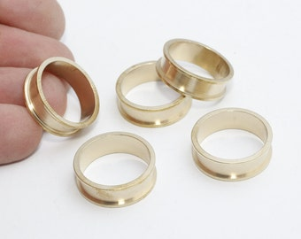 5 Pcs Width 4,5mm Raw Brass Ring Setting , Channel Ring Settings, Ring Base , PND55