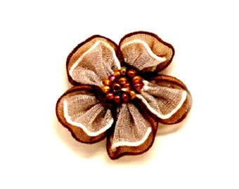 LOT 10 flower 3 cm fabric Brown and white beads - sewing embellishments / scrapbooking / wedding / table decoration, cards