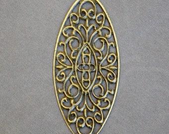 Pack of 15 Antique Bronze Oval Filigree