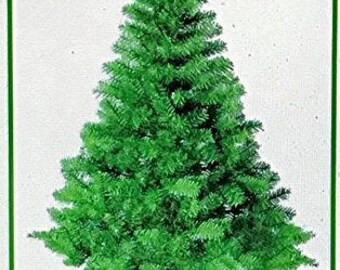 Christmas Tree 720 Tip 7 Ft High Decorative Green Pine Tree with Green Metal Tree Stand