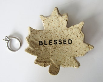 Blessed maple leaf spoon rest - coffee spoon rest - farmhouse charm