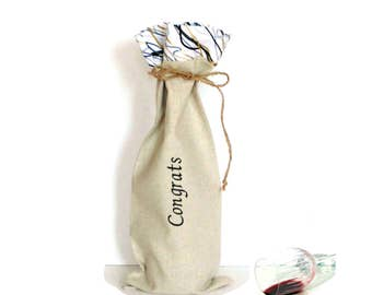 Wine bottle bag, Congrats, wine tote bag, embroidered linen bag, wine sleeve bag, house warming gift, congratulations