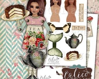 Imprimables, Paper Dolls, soirée thé, Tea Party poupées, numérique, Collage de la feuille, papier Art Dolls, technique mixte, poupées numériques, poupée imprimable