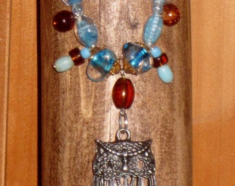 18 inch Clear Aqua Blue Glass Bead Owl Necklace