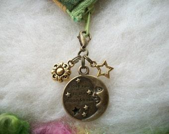 Zipper Charm Star Moon Zipper Pull, Zipper Gripper Personalize Stocking Stuffer, Antique Bronze Charms