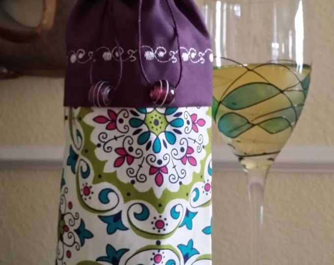 Wine Bag-Deluxe-Whimsical Collection (Burgandy)