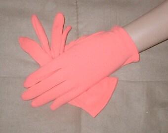 Vintage CORAL color wrist length Dress Gloves