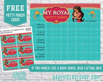Printable Elena of Avalor Potty Training Chart, FREE Punch Cards | Disney Princess| High Resolution JPG File, Instant Download, NOT Editable