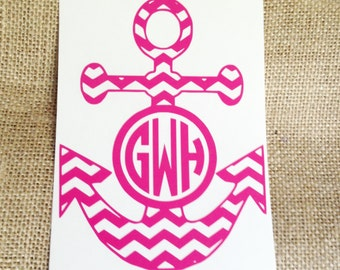 anchor monogram / decal / chevron / monogram / anchor / nautical / personalized / preppy / southern / south /
