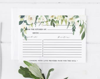 Recipe card template | Etsy