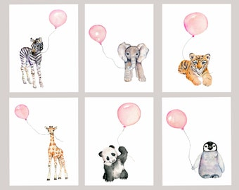 baby girl nursery, girls nursery decor, Pastel Pink nursery, nursery print set,  zoo animal decor, baby room prints, watercolor nursery