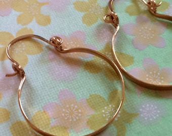 """Rose Gold Hammered Hinged Hoop Earrings 1"""" Small Rose Gold Hoops Wire Jewelry Horseshoe Hoops"""