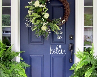 Hello, Front Door Welcome, Custom Vinyl letters Decal Wall Words Script Lettering Greeting Front Door Add Curb Appeal, Entryway Decor Spring