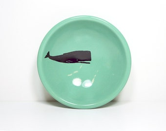 small dish with a sperm whale shown here on Blue-Green glaze, made to order / pick your colour