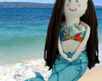 Custom Mermaid Art Cloth Doll - Handmade & Personalized - Aqua