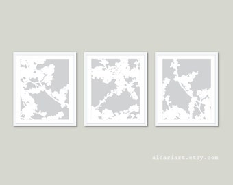Modern Cherry Blossoms Art Prints - Set of 3 - Grey and White Flowers - Modern Flowers Wall Art - Neutral Color