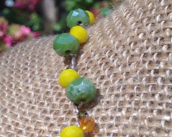 """Crocheted Crystal Glass Bead """"Corn Wheat Soybeans"""" Necklace - Gift for Her"""