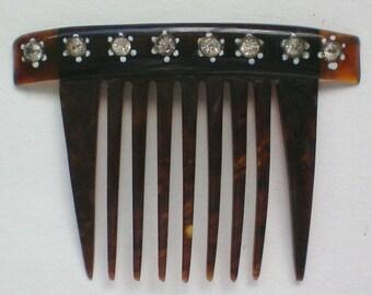 Small Cellulose Comb with Rhinestone Accents - 3850