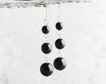 Black Dangle Earrings, Pearl Dangle Earrings on Silver Plated Hooks, Glossy Black Pearl Earrings, Wedding Jewelry