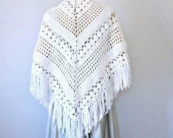 White Crochet Shawl Vintage 1980's Hand Made Bridal Cover Up Triangle Fringed