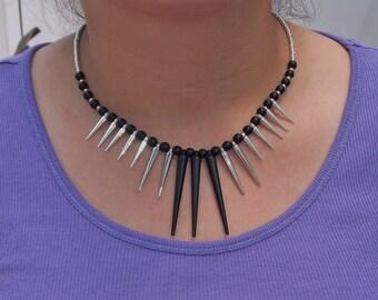 Gothic Silver & Black Spike Bib Necklace