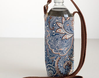 Blue Paisley Water Bottle Holder, Blue and Brown Water Bottle Sling, Crossbody, Blue, Brown, and Tan Cotton Fabrics, Handmade