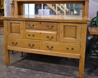 Antique Mission Arts and Crafts Style Oak Dining Room Buffet J K Rishel