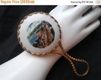 ON SALE Vintage Porcelain Nice France Landscape Beach Theme Handheld Vanity Mirror * Cute Vintage Mirror * 1960's Collectible Mirror