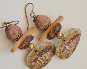 Fox Earrings, Tribal Art Bead Earrings, Rustic Ceramic Earrings, Southwest Flavor, Unusual Earrings,  Petroglyph Earrings, Unique Stuff