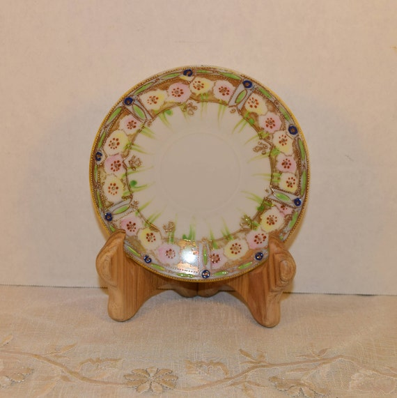 Japan Pink & Green Salad Plate Vintage Moriage Gold Trim Beading Dessert Plate Pink Yellow Flower Green Detail Small Plate Shabby Chic Decor