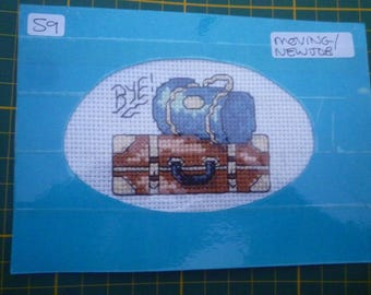 X Stitch Kit Card BON VOYAGE with Card and Envelope Sewing Kit LuggageThreads Pattern and Aida too