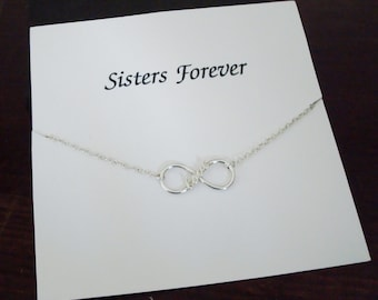 Love Infinity Charm Sterling Silver Bracelet ~~Personalized Jewelry Gift Card for Sister, Best Friend, Sister in Law, Bridal, Graduation