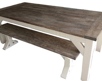 Rustic Farmhouse Table and Bench Breadboard Ends