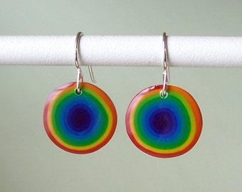 Earrings - Rainbow Dots polymer clay purple inside
