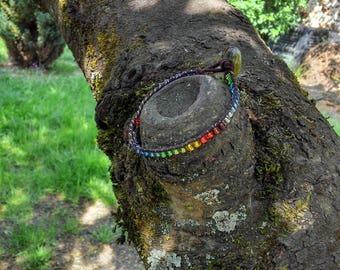 Multicolor Rainbow wrap and leather bracelet