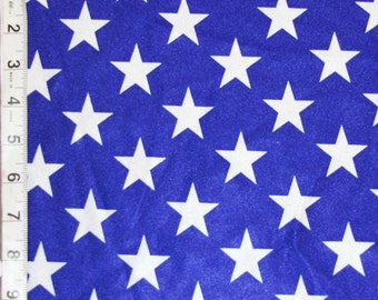 Royal Blue White Star Shiny Polyester Spandex Lycra Fabric Bright High Quality 4-Way Stretch