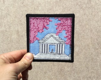Mini Jefferson Memorial with Cherry Blossoms, 4x4 inches, original sewn fabric artwork, handmade, freehand appliqué, ready to hang canvas