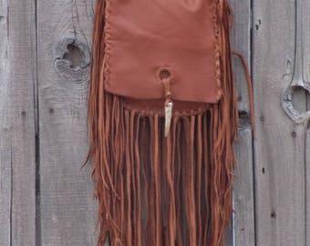Crossbody boho handbag , Handmade leather handbag with fringe and antler tip closure