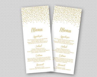 wedding menu template gold wedding menu printable template editable with microsoft word gold glitter sparkles confetti dots bubbles