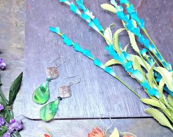Blue Shell Earrings, Green Shell Earrings, Statement Earrings, Bold Earrings, Natural Earrings, Bright Earrings, Gift For Women, Gift Ideas