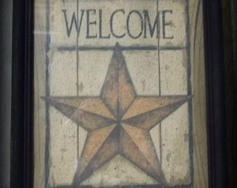Country Primitive Farmhouse Welcome Barn Star Framed 8 x 10 Print