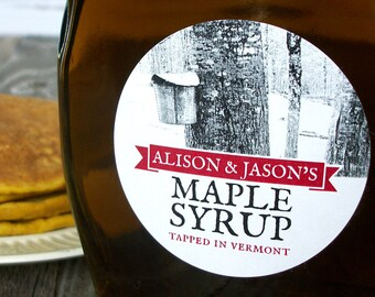 Custom Tree Tapping Maple Syrup labels, custom round canning jar labels print with YOUR name vintage black & white tree sap collection photo