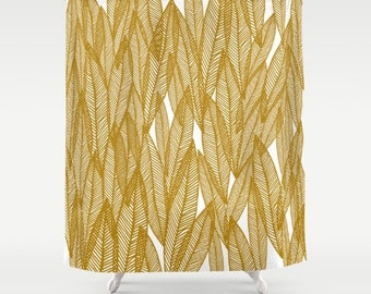 fabric shower curtain- golden leaves- modern home decor- bathroom decor- white and gold- gold leaves