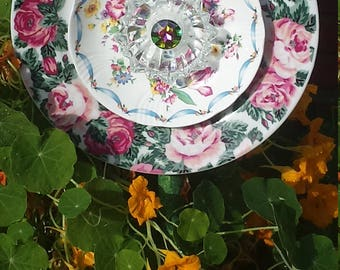 Cabbage Roses and Crystal Plate Flower